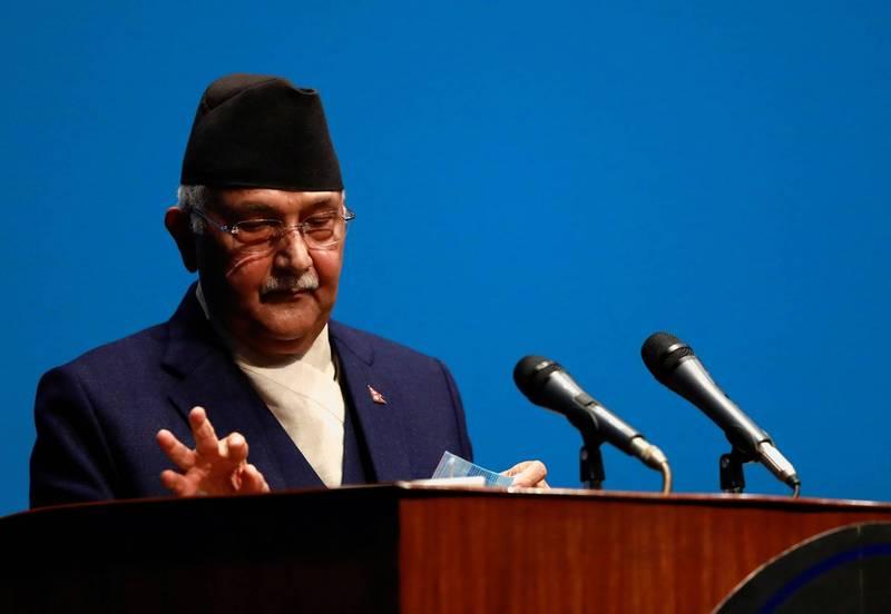 隨著總理奧利(見圖)被迫下台後,尼泊爾內部陷入政治鬥爭。(路透)