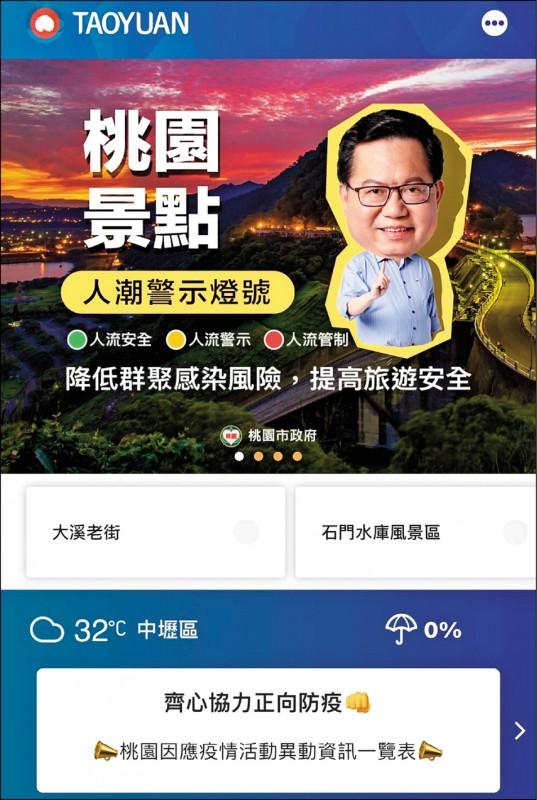 桃園市府風景區管理處提醒民眾下載「桃園智慧遊」App,以掌握風景區最新人潮狀況。 (記者李容萍翻攝)