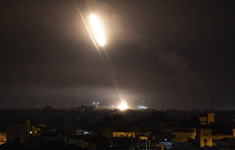 以色列被來自加薩走廊的火箭彈襲擊。(美聯社)