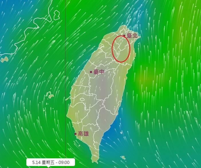 中央氣象局長鄭明典上午PO圖,分析今日風場下易有午後對流發展的區域。(擷取自鄭明典臉書)