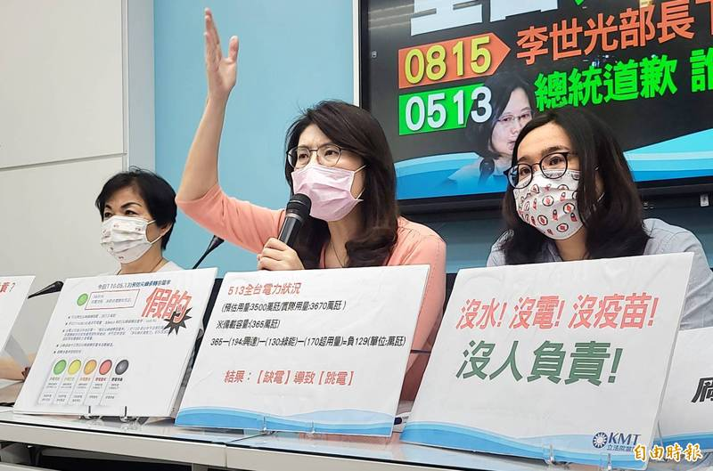 台電興達電廠機組昨日跳機,國民黨立委求經濟部長王美花下台。(記者施曉光攝)