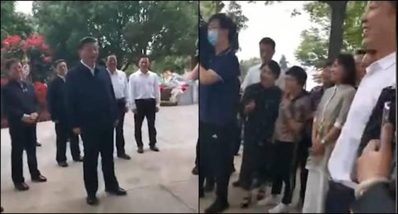 中國領導人習近平近日到訪河南省,看見現場已有大批群眾等待,竟問:「你們怎麼知道我來了啊?」(圖取自影片)