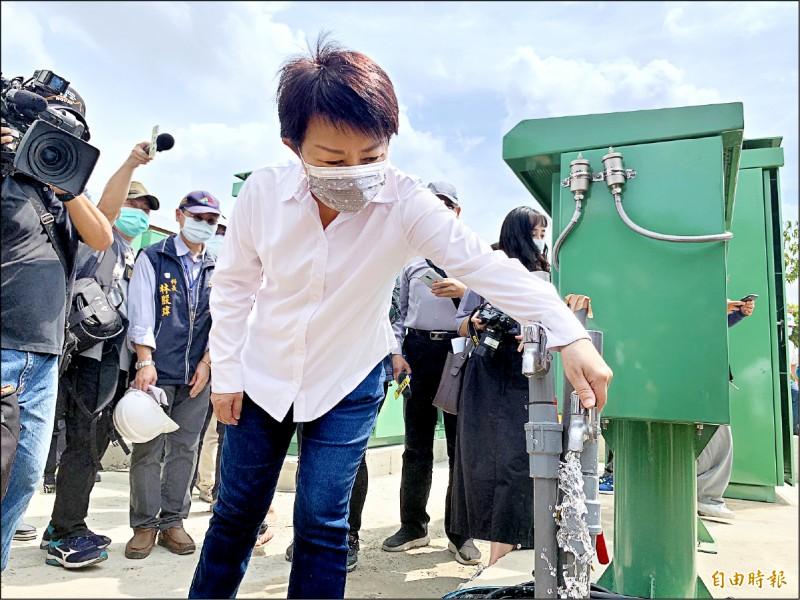 台中市長盧秀燕到中央公園視察水井地下水源情形。(記者蔡淑媛攝)