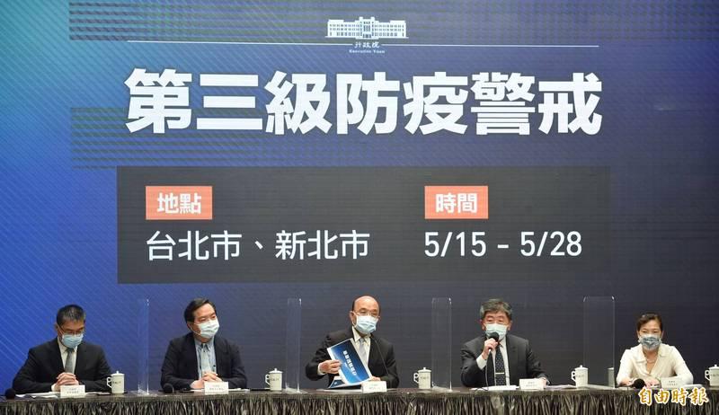 行政院長蘇貞昌今天表示,昨一天確診病例暴增180例。(記者劉信德攝)