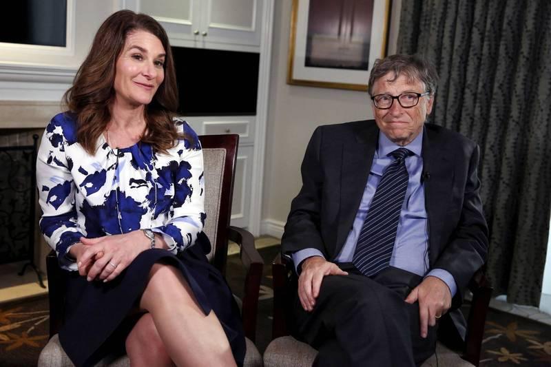 微軟創辦人比爾蓋茲(右)與妻子梅琳達(左)日前宣布結束27年的婚姻。(路透)