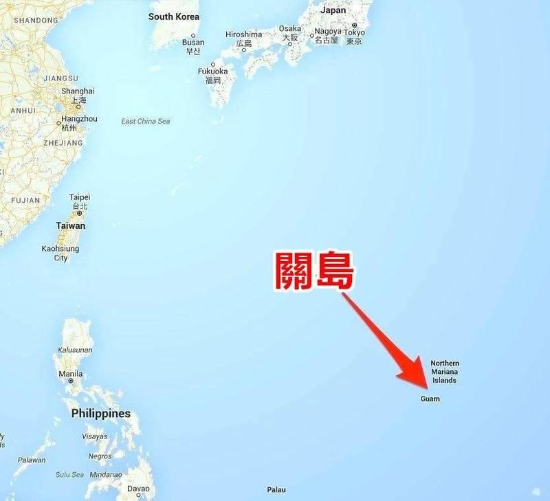 關島位置圖。(取自Google Map)