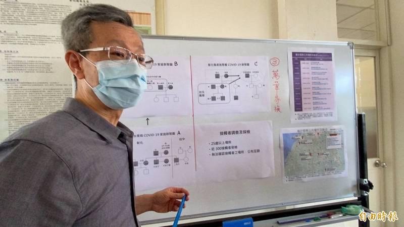 彰化衛生局長葉彥伯今公布9個新確診個案,晚間又新增4例共13例。(記者張聰秋攝)