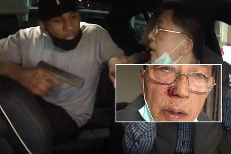 67歲台籍男子廖保羅(音譯,Paul Liao)是當地共乘服務「來福車」(Lyft)駕駛,當天在一處加油站遭一名黑人歹徒強行進入後座,持槍企圖搶劫。(本報合成)