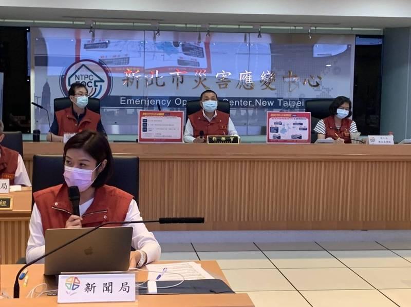 新北市長侯友宜下午召開防疫應變會議後記者會。(記者陳心瑜翻攝)