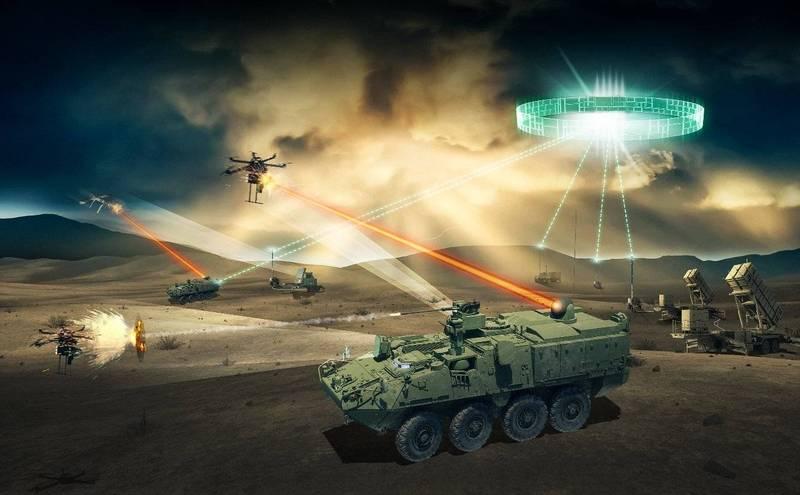 史崔克裝甲車用雷射武器進行實戰攻擊的假想圖。(翻攝自諾斯洛普格魯曼公司官網)