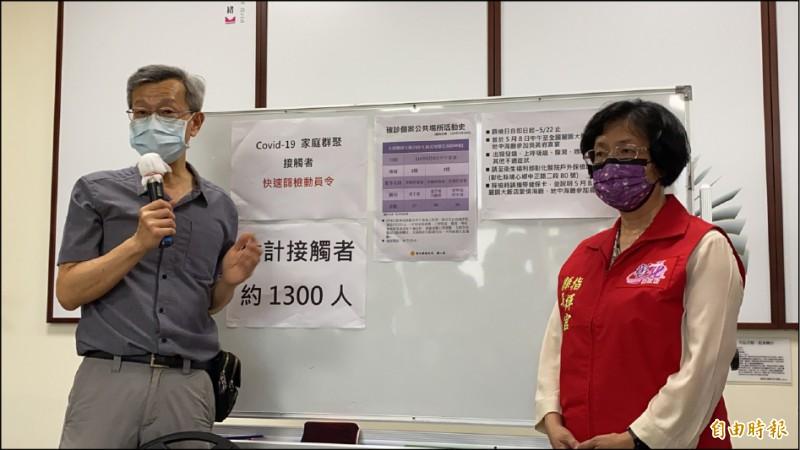 彰化縣衛生局長葉彥伯(左)針對全國麗園餐廳傳出3人確診,匡列1300人,要求這些人自主健康管理14天。(記者張聰秋攝)