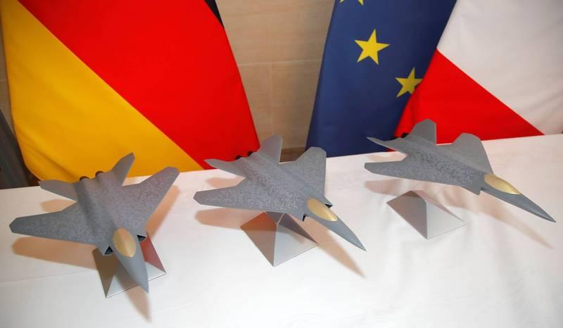 在巴黎展示的FCAS第六代戰機模型。(路透)