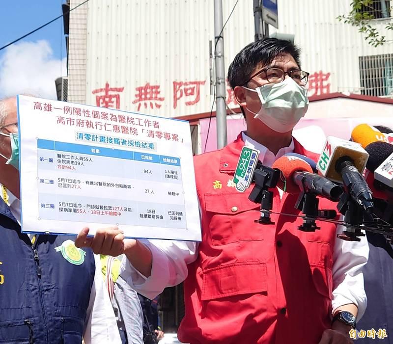 高雄仁惠醫院爆院內感染,市長陳其邁表示,市府採3圈匡列324人。(記者陳文嬋攝)