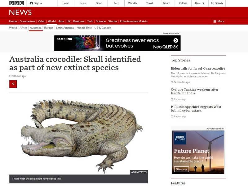 澳洲2009年於距離北領地愛麗絲泉約200公里處,發現1具疑似鱷魚的頭骨,據稱約有800萬年歷史。不過,外媒報導,科學家新發現,它可能屬於滅絕物種的一部分。(圖翻攝自《BBC》官網)