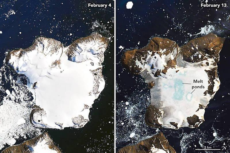 最新一項研究顯示,南極冰蓋不斷融化,將引發連鎖反應,不僅回過頭加速冰蓋融化速度,更將進一步導致全球範圍的天氣模式出現巨變。(歐新社)
