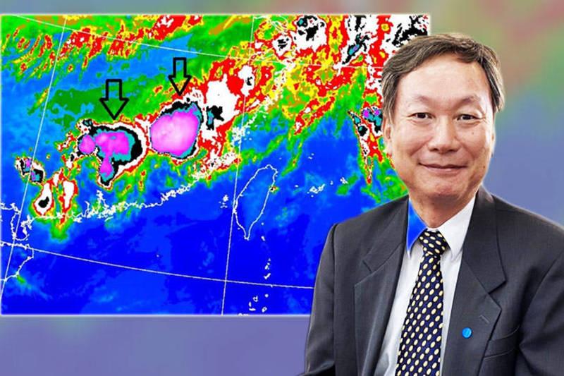 氣象局長鄭明典19日晚間在臉書表示,衛星雲圖已經可以觀測到「中尺度對流系統」,圖中紫色「團狀雲塊」是「梅雨季最常帶來強降雨的天氣系統」。(圖取自鄭明典臉書、資料照;本報合成)