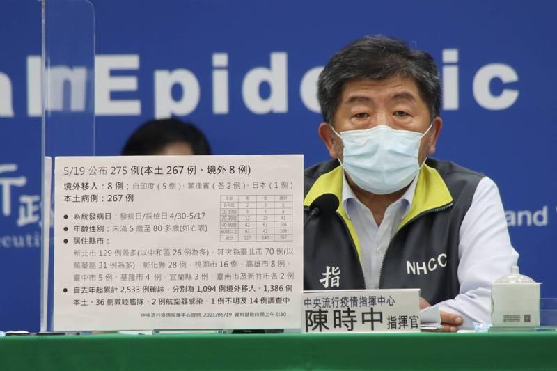 中央流行疫情指揮中心指揮官陳時中表示,今天起全國所有縣市都提升成三級。(指揮中心提供)