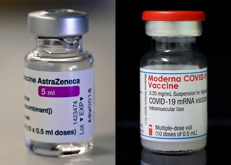日本厚生勞動省今晚的專家小組會議同意批准AZ疫苗(左)及莫德納疫苗(右)。(資料照,法新社)