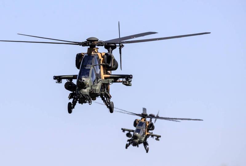 土耳其T129 ATAK戰術偵查攻擊直升機。(歐新社)