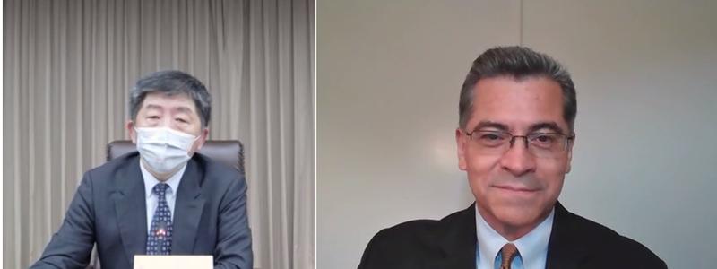 美衛生部長貝西拉(Xavier Becerra,右)與指揮官陳時中討論公衛議題。(圖片取自美衛生部推特)