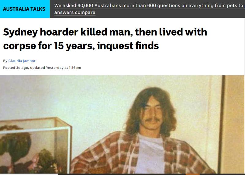 澳洲雪梨男子斯內爾曼於19年前搶劫失風,遭患有囤積症的屋主擊斃,未料屍骨藏在民宅內,15年後才被發現。(圖取自ABC News(Australia))