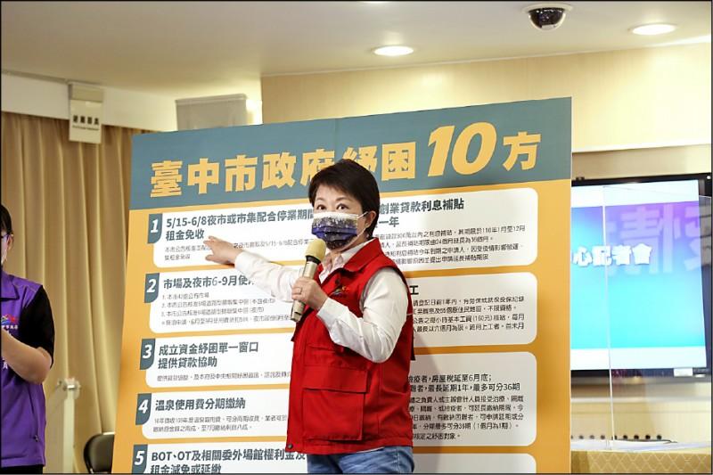 因應疫情造成的困境,台中市長盧秀燕昨天提出「紓困十方」。 (市府提供)