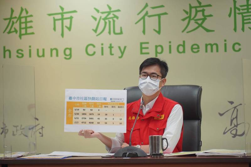 高雄市長陳其邁主持防疫會議後的線上記者會。(高市府提供)