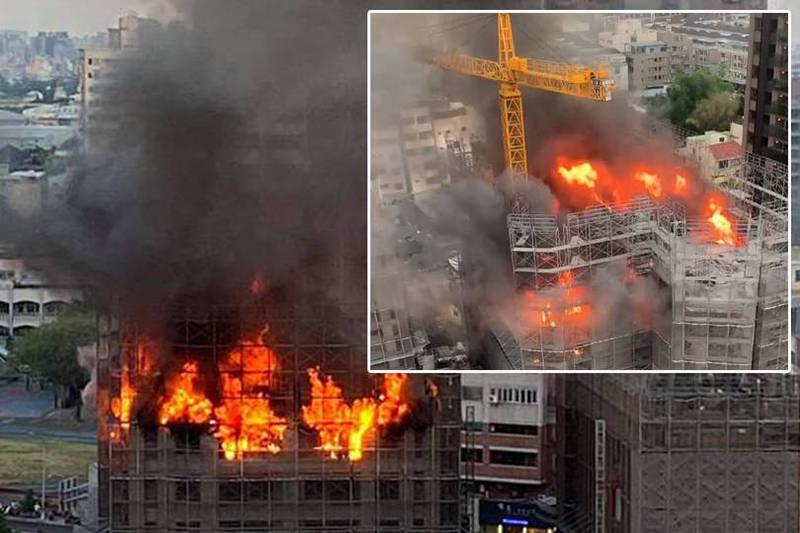 台中市南屯區向上路四段與忠勇路的高級住宅建案理和建設專案「時光嶼」工地今天傍晚6時14分失火。(本報合成)