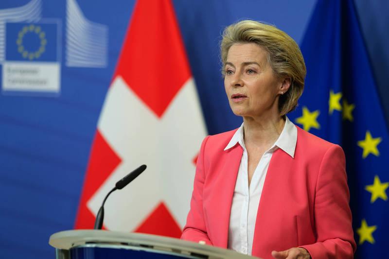 歐盟今日宣布,在年底之前捐出1億劑疫苗給弱勢國家。圖為歐盟執委會主席馮德萊恩。(彭博)