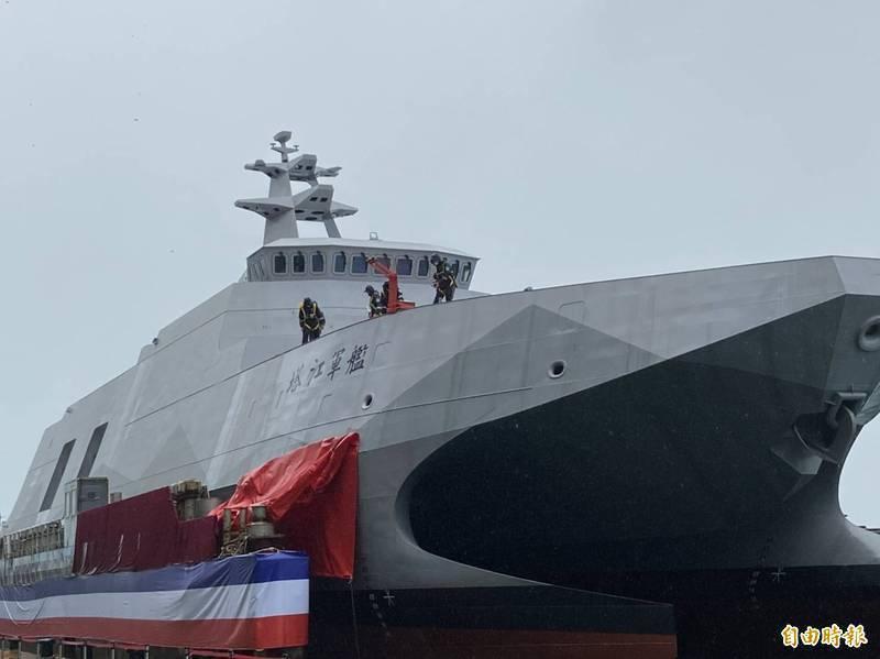 海軍塔江軍艦在去年12月命名下水後,展開一連串的海上測試,軍方消息傳出,將在今年7月驗收交艦丶8月下旬可望舉行成軍典禮。(資料照)