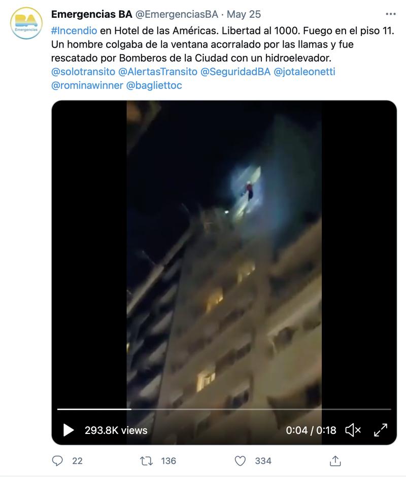 烏拉圭籍足球員杜阿爾特染疫失去嗅覺,在火災現場驚險逃生。(圖擷取自Twitter/@EmergenciasBA)