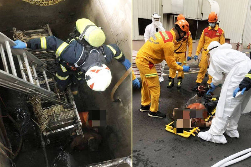 消防人員設梯下到廢水處理槽將掉落員工救起,送醫搶救。(記者魏瑾筠翻攝;本報合成)