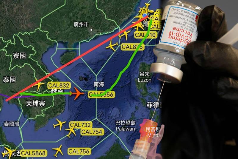 華航今天載運莫德納疫苗的貨機,飛行計劃特別申請航路改道,主要就是要避開中國的飛航情報區。(本報合成)