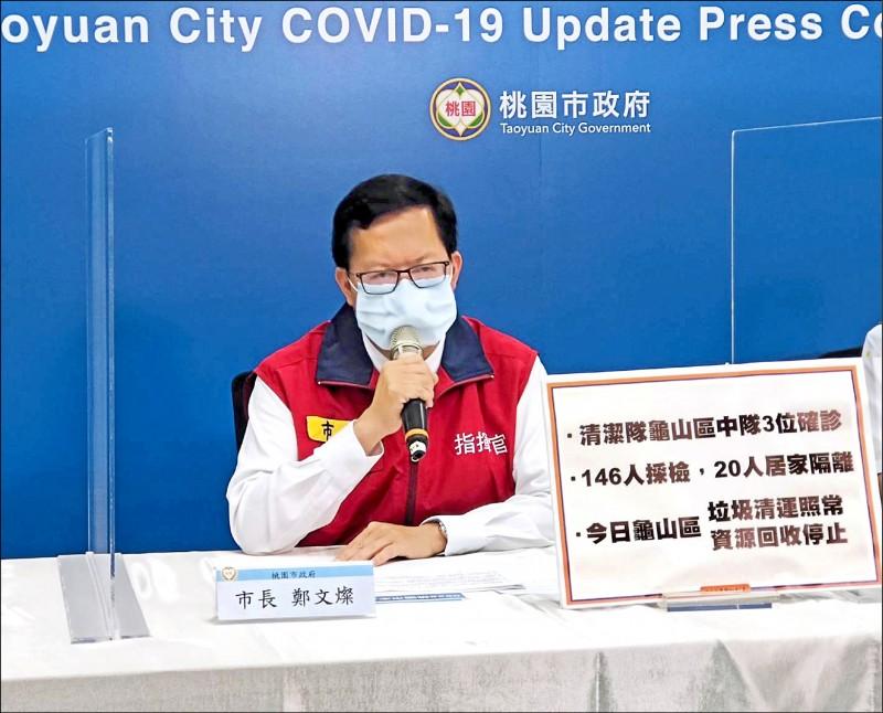 市長鄭文燦昨在市府防疫專案會議上表示,市府將於31日推出「防疫專區網頁」,整合各局處防疫、紓困資訊。(桃園市政府提供)
