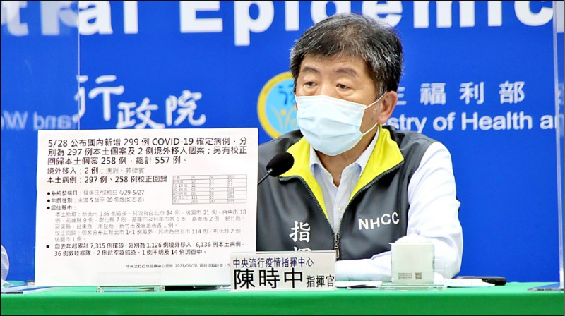 衛福部長陳時中昨表示,若要達到六成民眾能施打第一劑,約要一千四百萬劑,希望在十月底能施打完成,「到年底前供應量應該是夠的」。(指揮中心提供)
