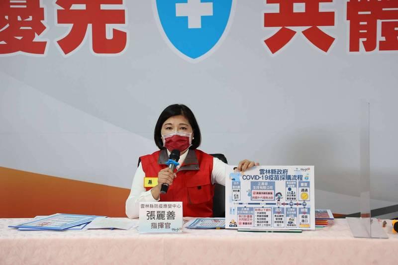 雲林縣長張麗善今天在防疫應變中心記者會中宣布縣府已向衛福部提出自購COVID-19疫苗專案申請。(雲林縣府提供)