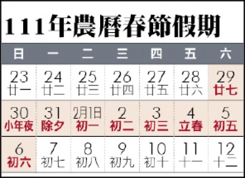 111年農曆春節假期