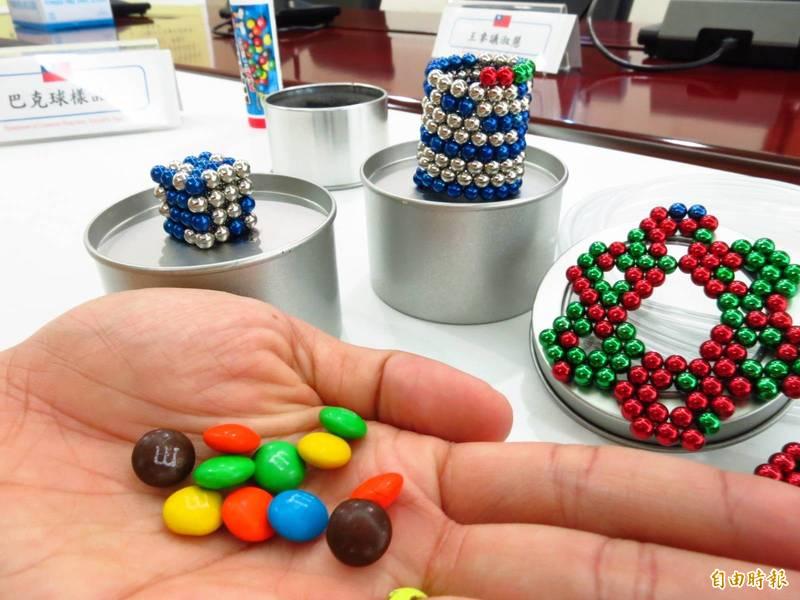 「巴克球」磁珠磁力超出玩具磁鐵磁力國際規範80倍,誤食將引發危險。(資料照)