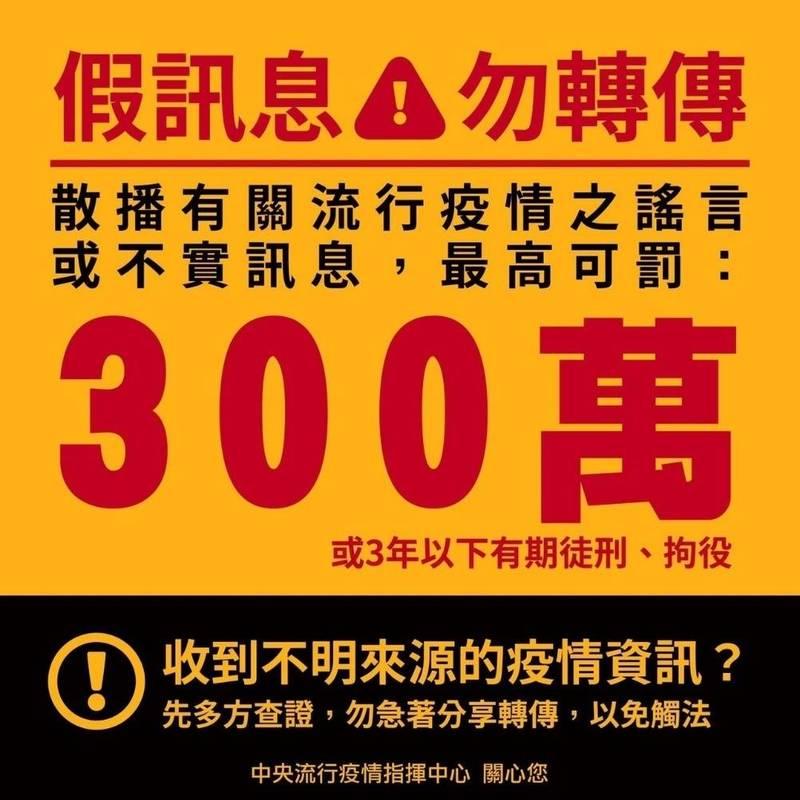 烏日分局警方提醒,散布假訊息最重可罰300萬,或3年以下徒刑、拘役,請民眾千萬要謹慎。(記者陳建志翻攝)
