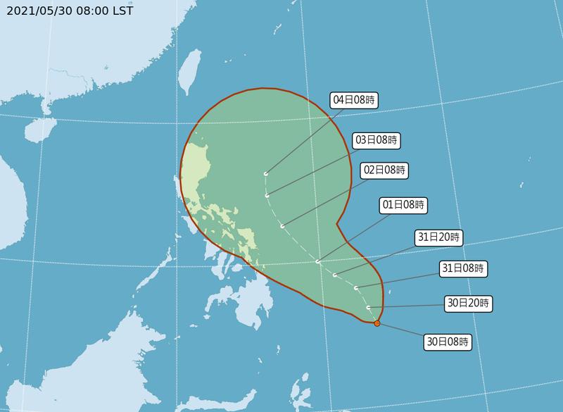 熱帶性低氣壓「TD04」最快於今深夜增強為今年第3號颱風「彩雲」,恐影響下一波梅雨鋒面。(圖擷自中央氣象局)