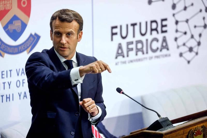法國總統馬克宏(Macron)威脅馬里(Mali)領導人,若政局再不穩將撤軍。(法新社)