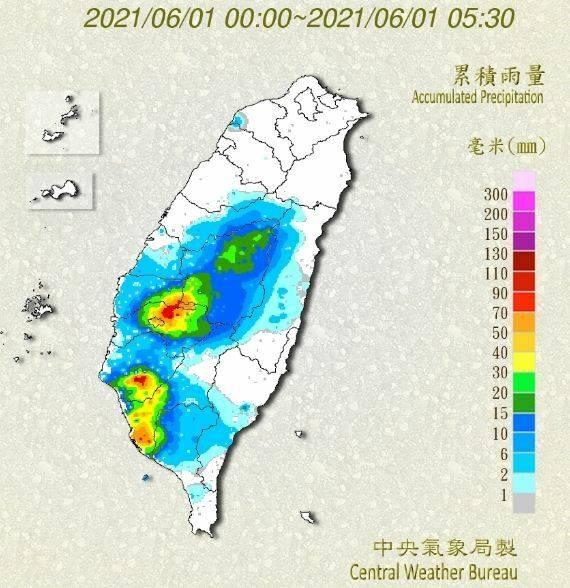 高雄市區累積雨量以平地居多。(中央氣象局提供)