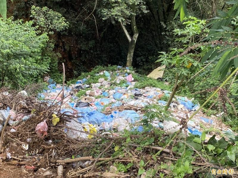 未設護欄的路段下方更是滿坑滿谷的垃圾。(記者佟振國攝)