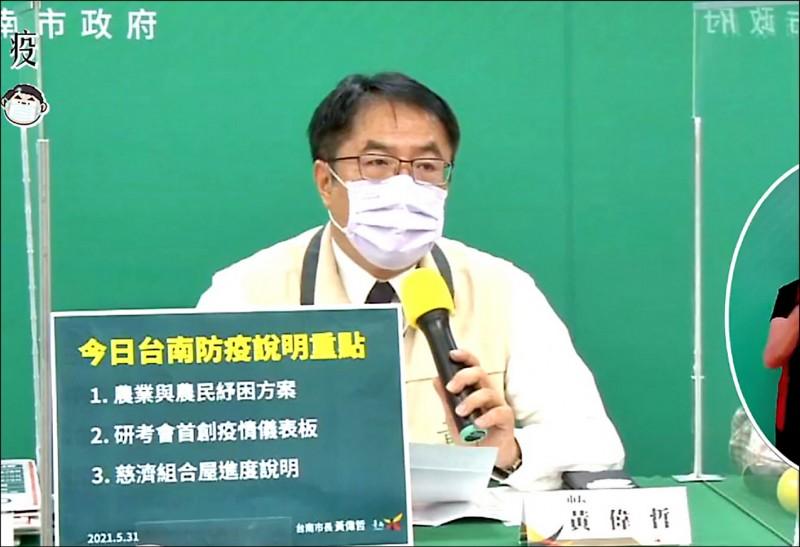 市長黃偉哲昨天在防疫記者會上,對有關民間捐贈疫苗中央有不同看法的說法,表示無法苟同。(記者蔡文居翻攝)