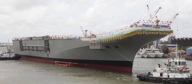 印度首艘自製航艦「維克蘭特號(INS Vikrant)」有望在近期展開下水測試,成為抗中的重要關鍵。(圖翻攝自印度海軍官網)