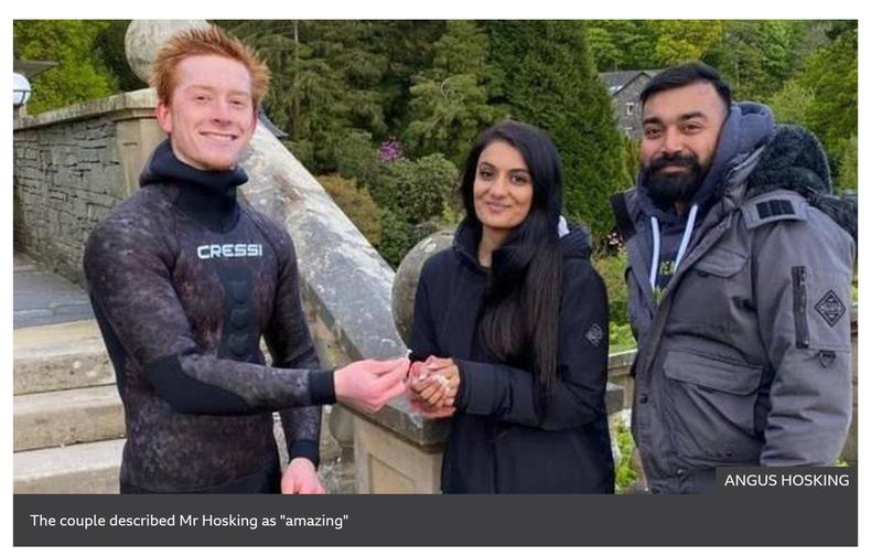 英國一位年僅22歲的潛水員霍斯金,僅花了20多分鐘就成功把戒指從溫德米爾湖撈出並「物歸原主」,奇蹟經歷引發網友熱議。(圖翻攝自BBC官網)