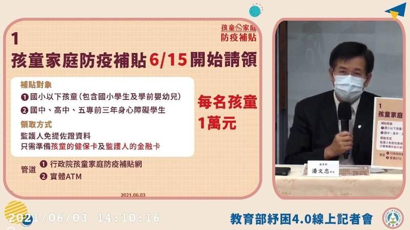 「家庭防疫補貼」6月15日發放,教育部長潘文忠今天公布快速領取4步驟。(記者林曉雲翻攝)