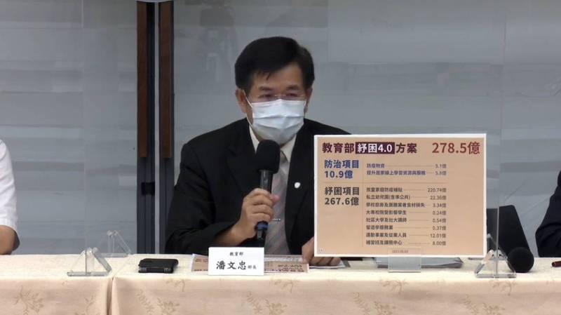 教育部長潘文忠今說明紓困方案內容。(記者林曉雲翻攝)