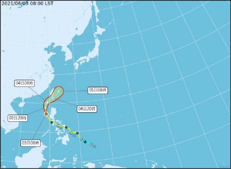 彩雲颱風路徑預報圖。(記者蕭玗欣翻攝)