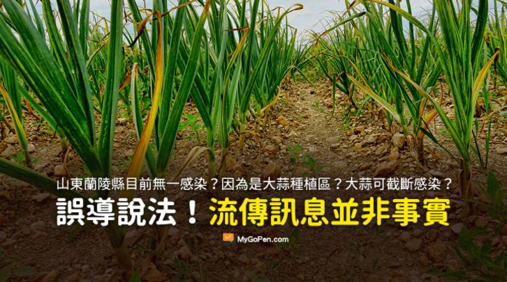 近日網路謠傳「山東蘭陵縣146萬人目前無一感染,因為蘭陵縣是大蒜種植區」,經查核中心查證比對,此為「錯誤」訊息。(圖擷取自MyGoPen)